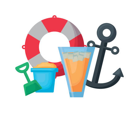 pool float with anchor and cocktails  over white background, vector illustration