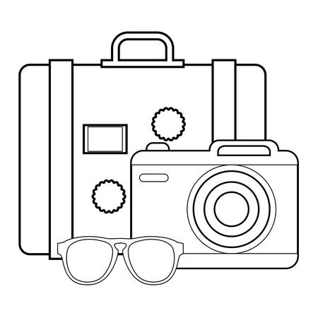 summer vacations design with photographic camera with sunglasses and travel suitcase over white background, vector illustration