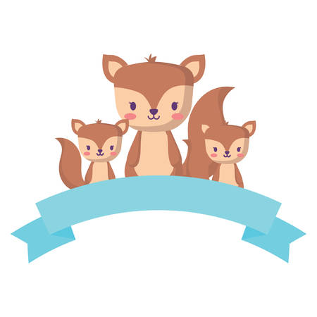decorative ribbon and cute squirrels over white background, vector illustration