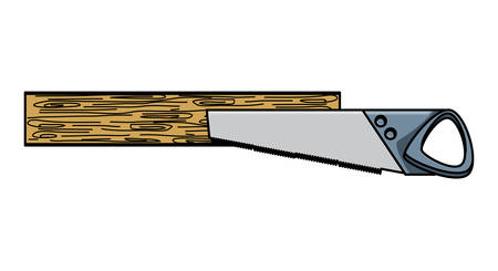 saw tool and wood board over white background, vector illustration