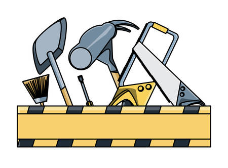 hammer and construction tools over white background, vector illustration