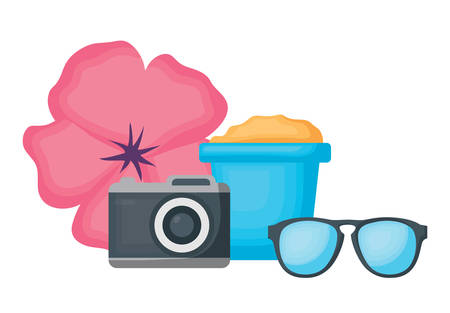 summer vacations design with photographic camera and related icons over white background, vector illustration Banque d'images - 111958293
