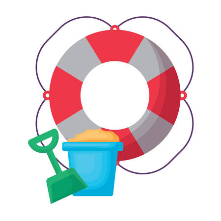 pool float and bucket with sand over white background, vector illustration