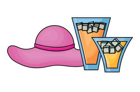 beach hat and cocktail drinks over white background, vector illustration
