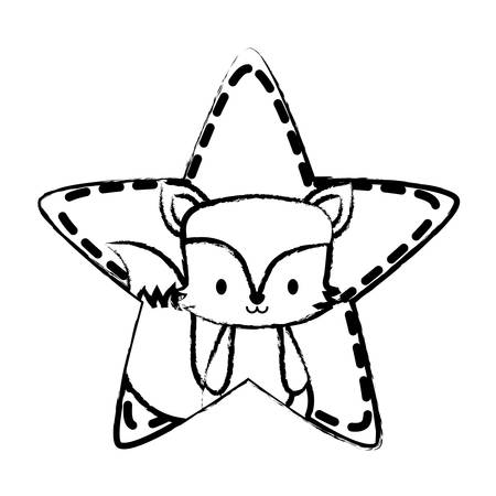 star with cute fox icon over white background, vector illustration