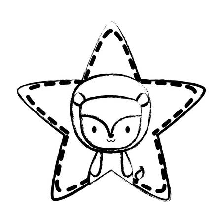 cute lion in star shape over white background, vector illustration