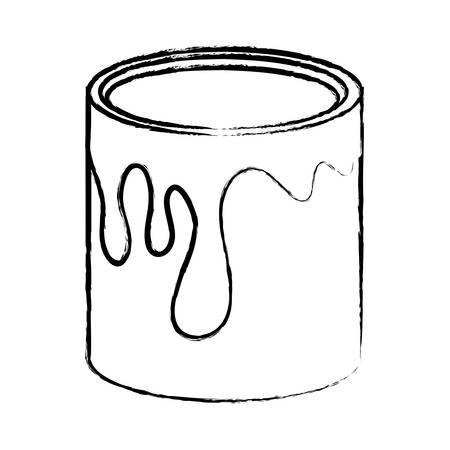 paint can icon over white background, vector illustration