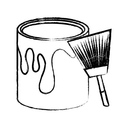paint can and brush icon over white background, vector illustration Illustration
