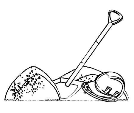 mucchi di sabbia e pala su sfondo bianco, illustrazione vettoriale Vettoriali