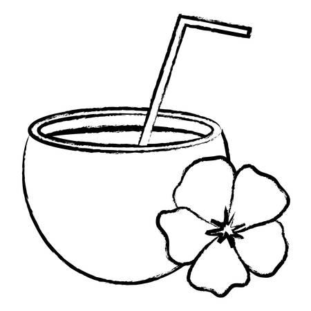 koktajl kokosowy i tropikalny kwiat na białym tle, ilustracji wektorowych Ilustracje wektorowe