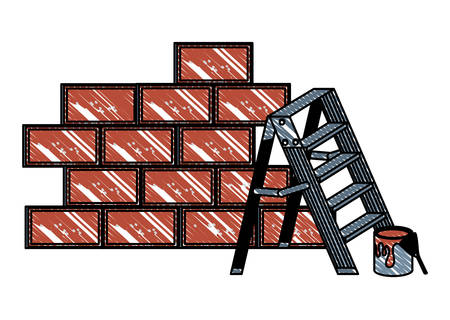 brick wall and ladder over white background, vector illustration
