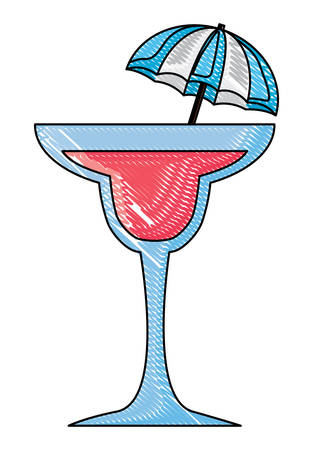 cocktail drink with decorative umbrella over white background, vector illustration  イラスト・ベクター素材