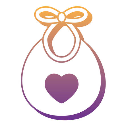 bib with heart icon over white background, vector illustration