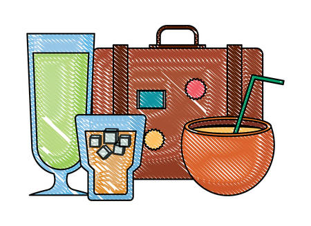 travel suitcase with cocktails drinks over white background, vector illustration