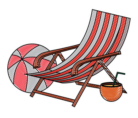 beach seat with coconut cocktail and ball over white background, vector illustration