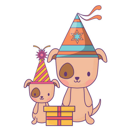 happy birthday design with cute dogs with party hats over white background, vector illustration Illustration