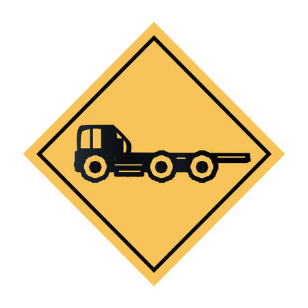 construction sign with flat bed truck  icon over white background, vector illustration