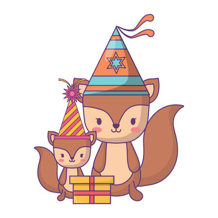 happy birthday design with cute squirrels with party hats over white background, vector illustration Illustration