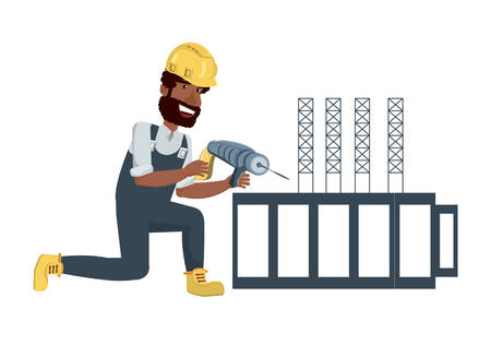 contruction man with drill and aluminium structure over white background, vector illustration Ilustrace