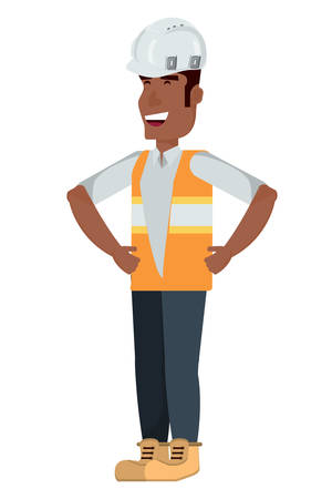 construction man standing over white background, vector illustration