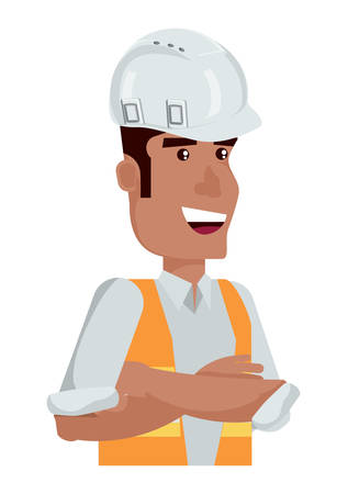 construction man with safety helmet and vest over white background, vector illustration