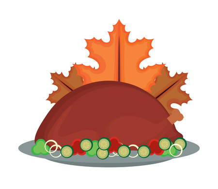roasted turkey and dry leaves over white background, vector illustration