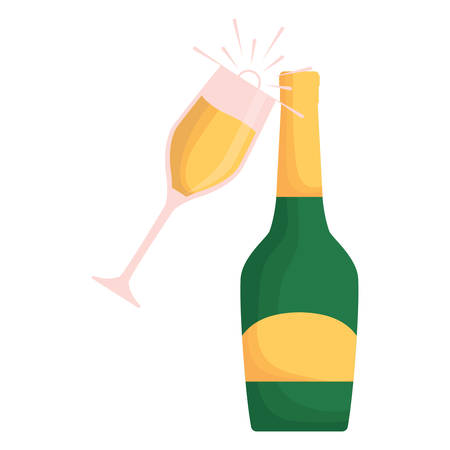 champagne glass and bottle over white background, vector illustration