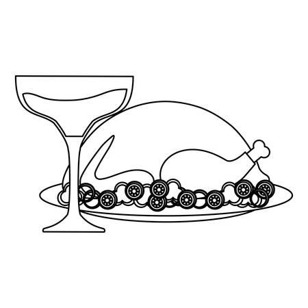 tacchino arrosto e bicchieri di champagne su sfondo bianco, illustrazione vettoriale