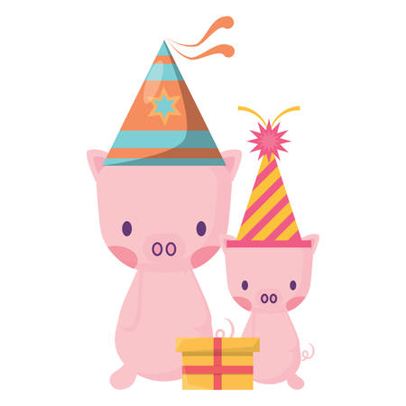 happy birthday design with cute pigs with party hats over white background, vector illustration