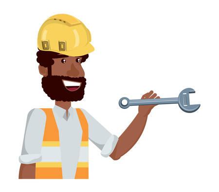 homme de construction tenant une clé sur fond blanc, illustration vectorielle