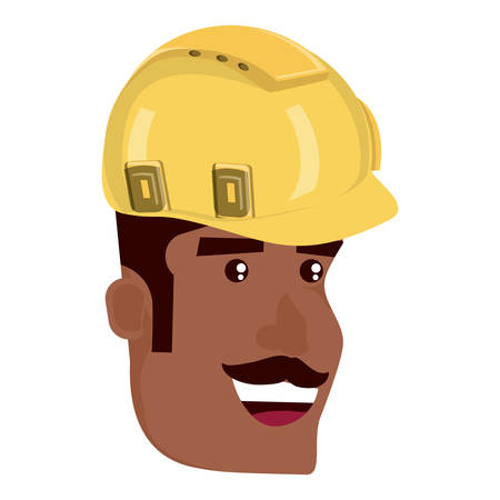 cartoon builder man with safety helmet over white background, vector illustration