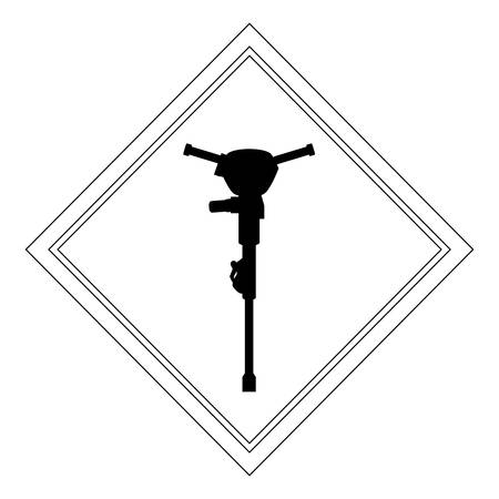 construction sign with hammer drill icon over white background, vector illustration Illustration