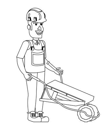 construction man with a wheelbarrow over white background, vector illustration