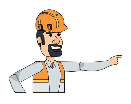 cartoon construction worker with safety vest and helmet over white background, vector illustration Ilustração