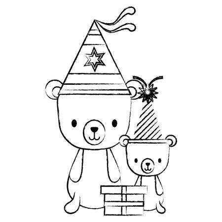 happy birthday design with cute bears with party hats over white background, vector illustration 矢量图像