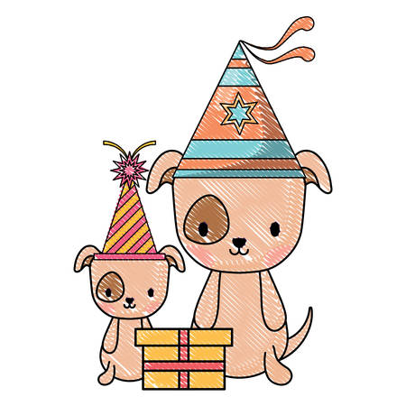 happy birthday design with cute dogs with party hats over white background, vector illustration 矢量图像