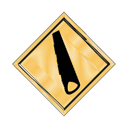 construction sign with saw  icon over white background, vector illustration Иллюстрация