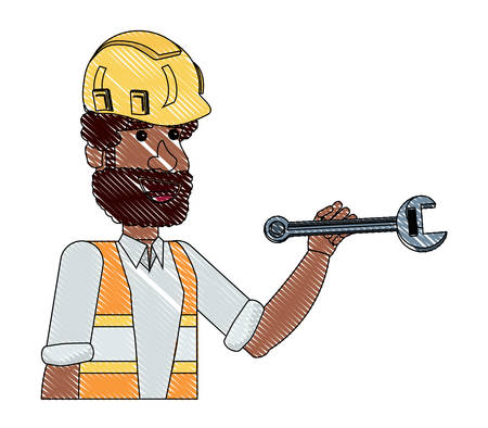 construction man holding a wrench over white background, vector illustration