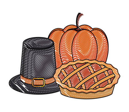 pilgrim hat with pumpkin and pie over white background, vector illustration