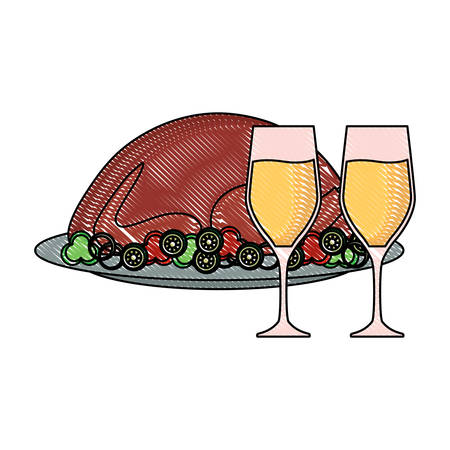 roasted turkey and champagne glasses over white background, vector illustration  イラスト・ベクター素材