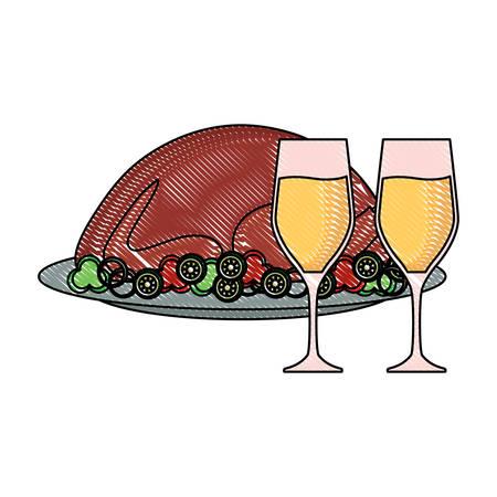 roasted turkey and champagne glasses over white background, vector illustration Illustration