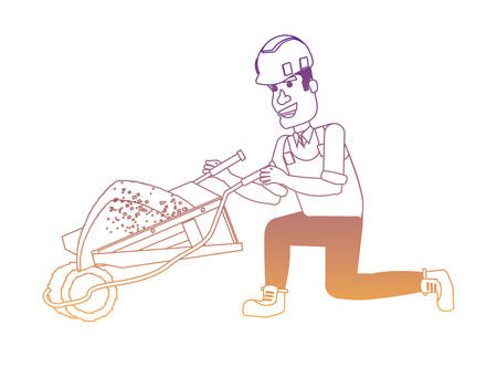 cartoon construction worker with wheelbarrow over white background, vector illustration Illustration