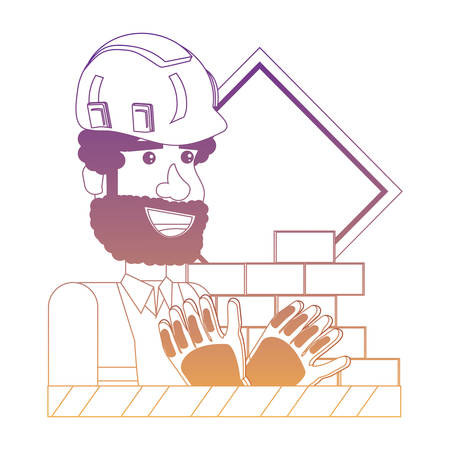 Under construction design with construction man and related icons over white background, vector illustration