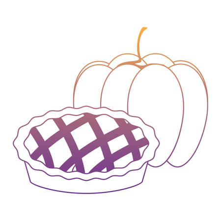 pumpkin and apple pie over white background, vector illustration