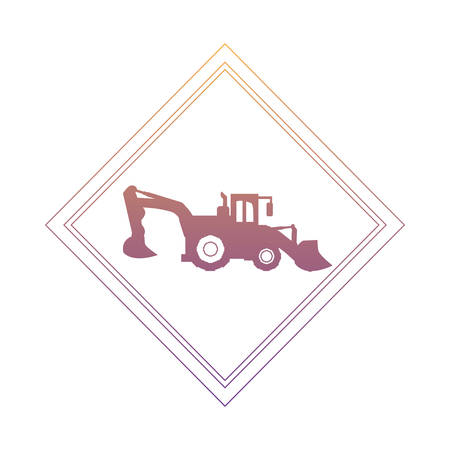 construction sign with excavator truck icon over white background, vector illustration
