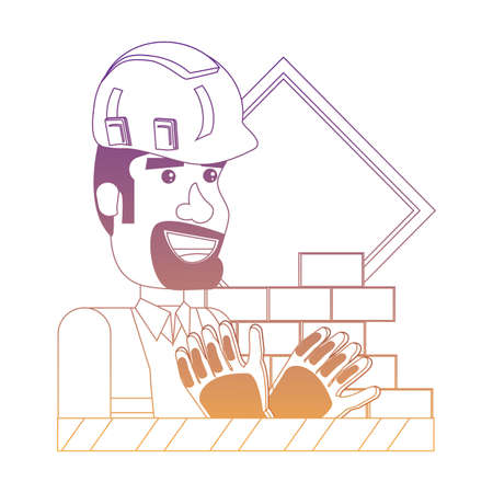under construction design with construction worker and related icons over white background, vector illustration