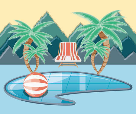 vacations place with pool scene vector illustration design Vektoros illusztráció