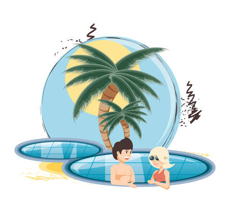 vacations couple in the pool vector illustration design