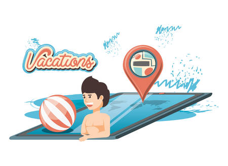 man in the pool scene vector illustration design Illustration