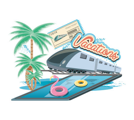 vacations place with pool scene vector illustration design